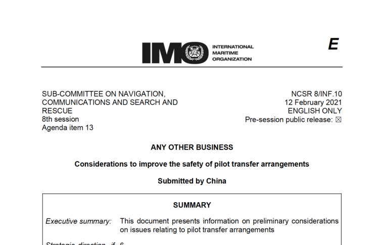 China urges IMO to improve pilot ladder safety regulations