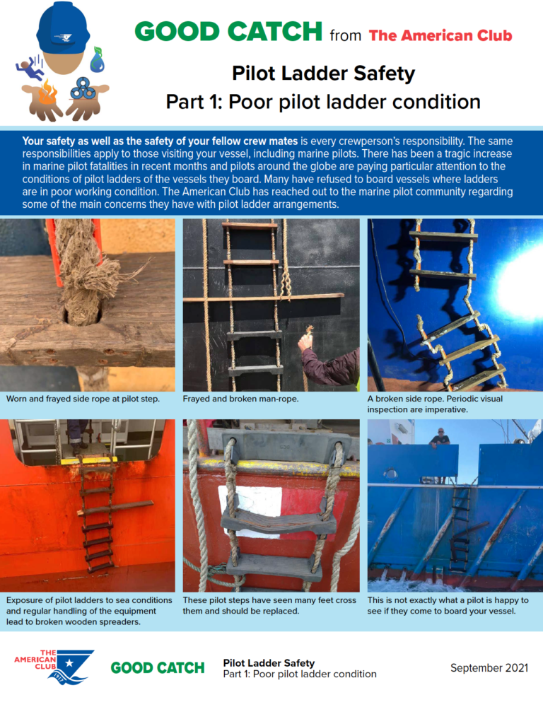 The American P and I club issues Pilot Ladder Good Catch Alerts